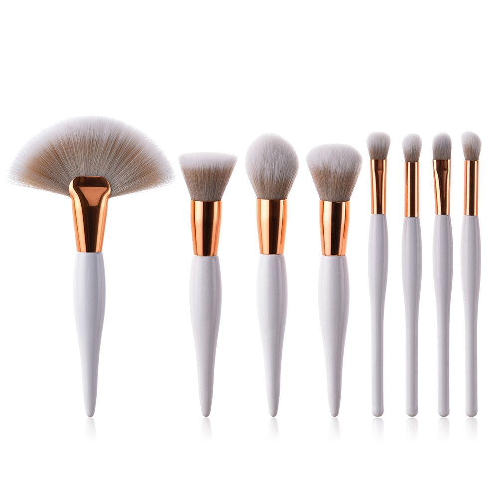 8 pcs Professional Makeup Brushes Set Foundation Eyeshadow Eyeliner Lip Brush Tool White Black Cosmetic Tool Drop Shipping 1j19