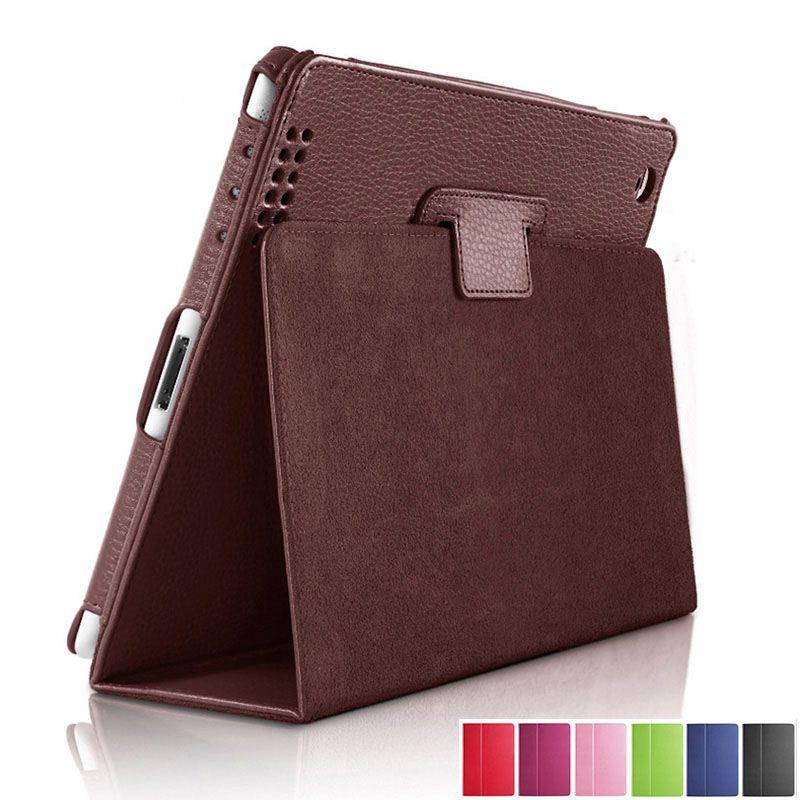 For Apple ipad 1 2 3 Case Auto Sleep /Wake Up Flip Litchi PU Leather Cover For New ipad 2 ipad 3 Smart Stand Holder Folio Case