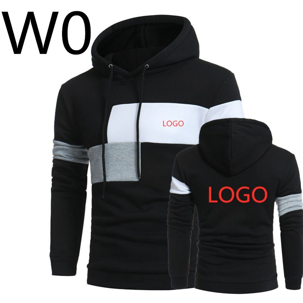 W0 2019 Men's Leisure Harajuku Hoodies Print Logos Hoody Spring Slim Male Patchwork Sweatshirts Man Hooded Sports Streetwear Top