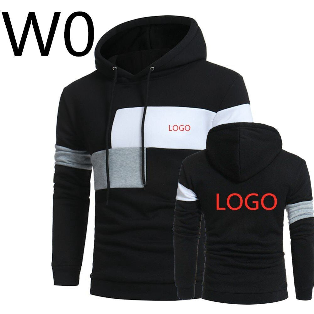 W0 2019 hommes loisirs Harajuku Hoodies imprimer Logos à capuche printemps Slim mâle Patchwork Sweatshirts homme à capuche sport Streetwear haut