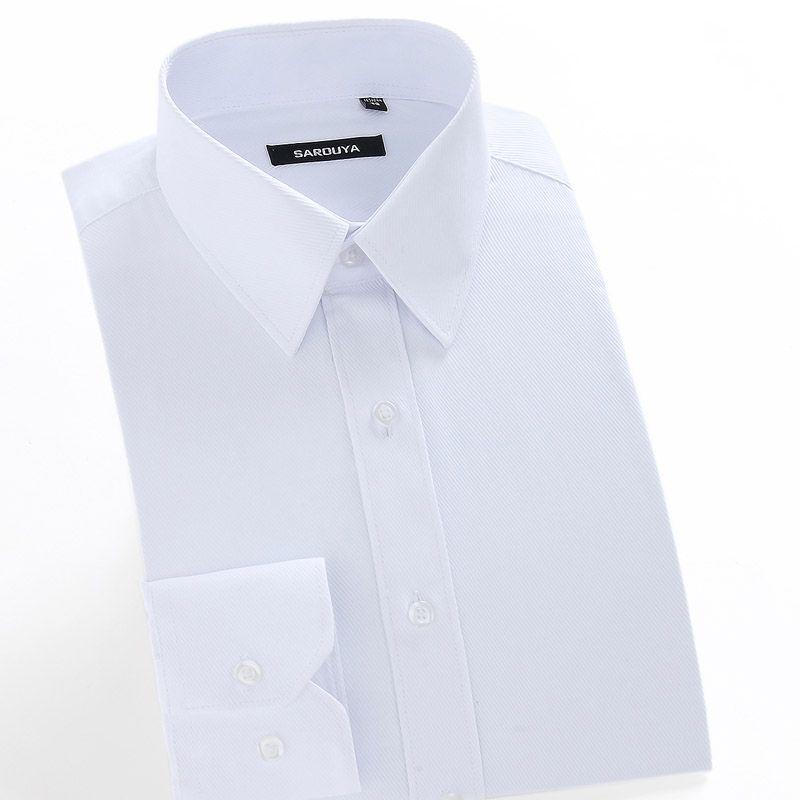 Blanco de Manga Larga de los hombres Camisa de Vestir Formales Masculinas Cómodas Negocio Regular fit Twill Solid Tops Camisas de Trabajo Desgaste de la oficina