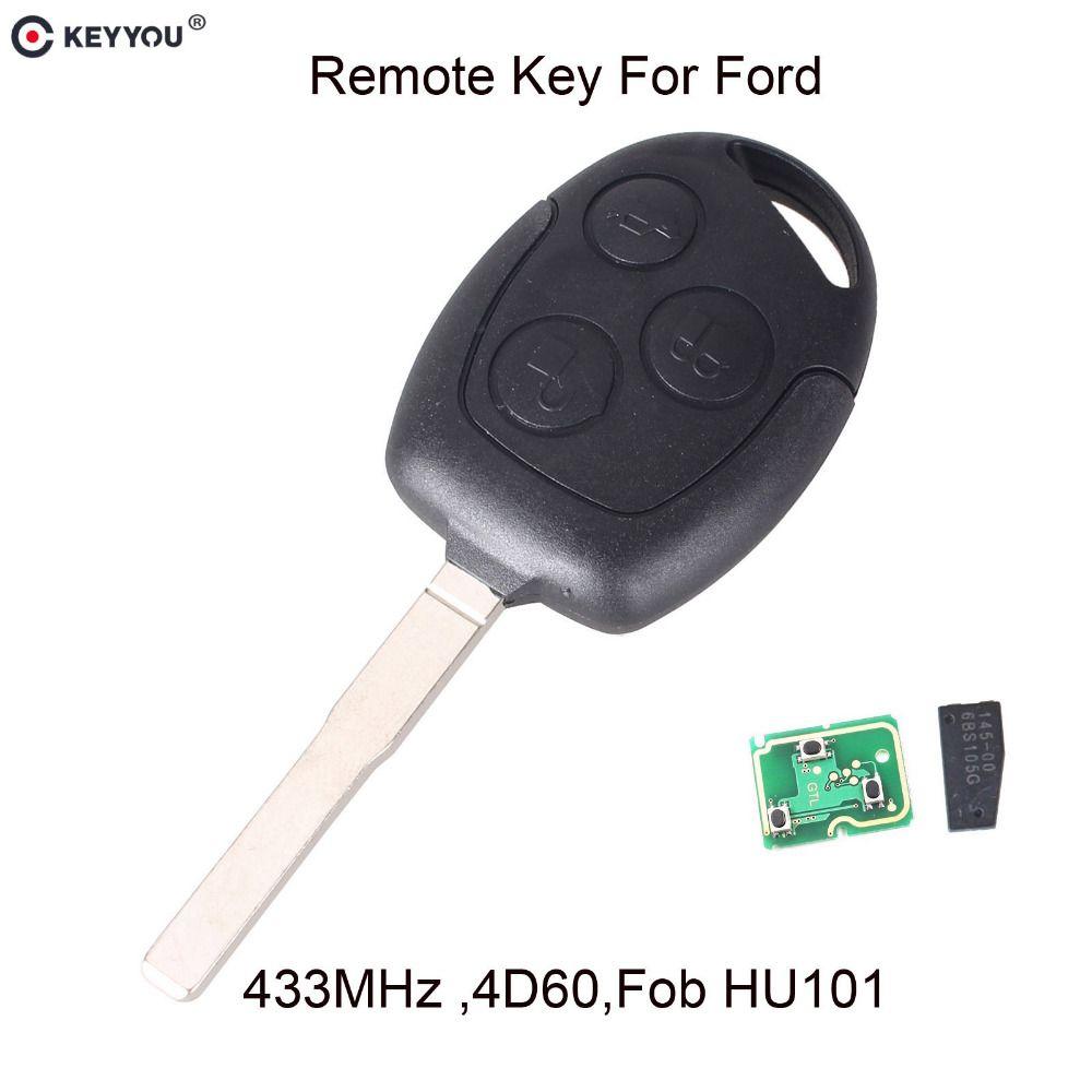 KEYYOU Remote Key 3 Tasten 315/433 mhz Mit 4D60 Chip für Ford Focus Fiesta Mondeo 2001-2007 C MAX Fusion Transit KA HU101 Klinge