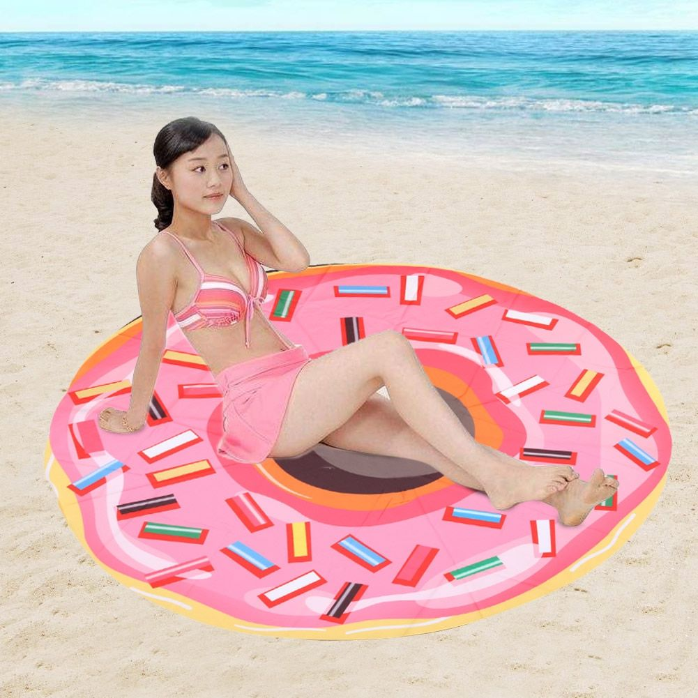 146cm Round Beach Towel Pink Donut Large Beach Towel Tassel Shower Towel Travel gran toalla de playa