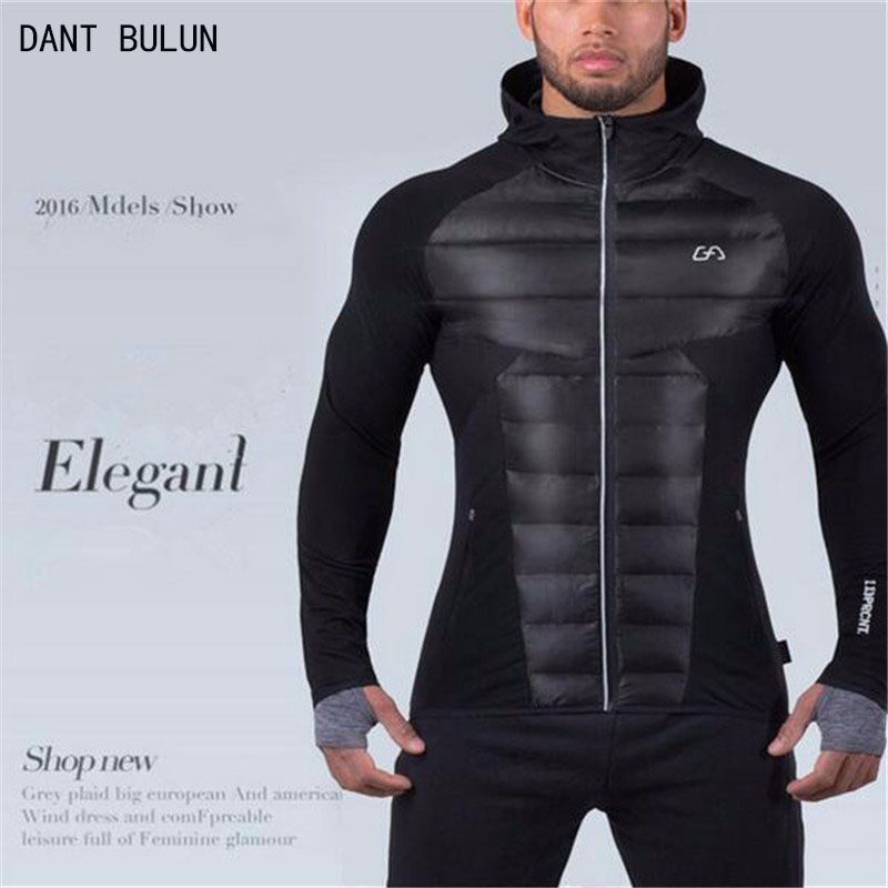 2017 New Men's Hooded jacket Thick material warmth Fitness Hooded jacket Patchwork bodybuilding Man Hoodie Clothing