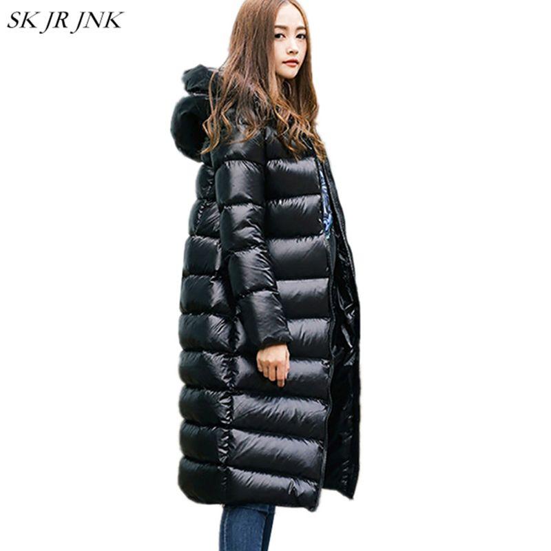 2018 Winter Women White Duck Down Parkas Female Down jacket Ladies Wadded Coat Female Warm Waterproof Zipper Long Parkas LYL247