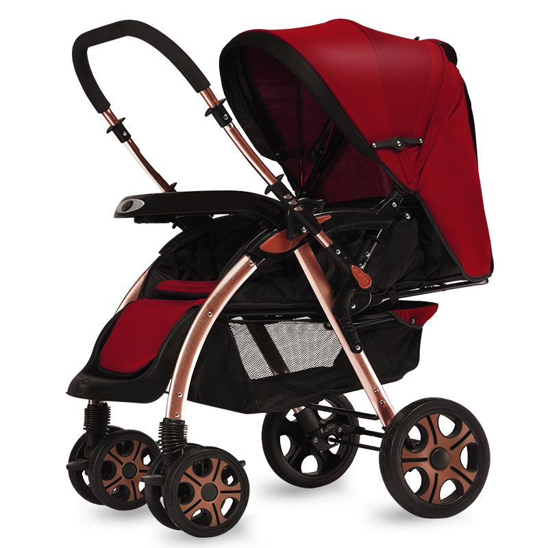 Two way push aluminum alloy baby stroller seated reclining lightweight folding child high landscape portable stroller