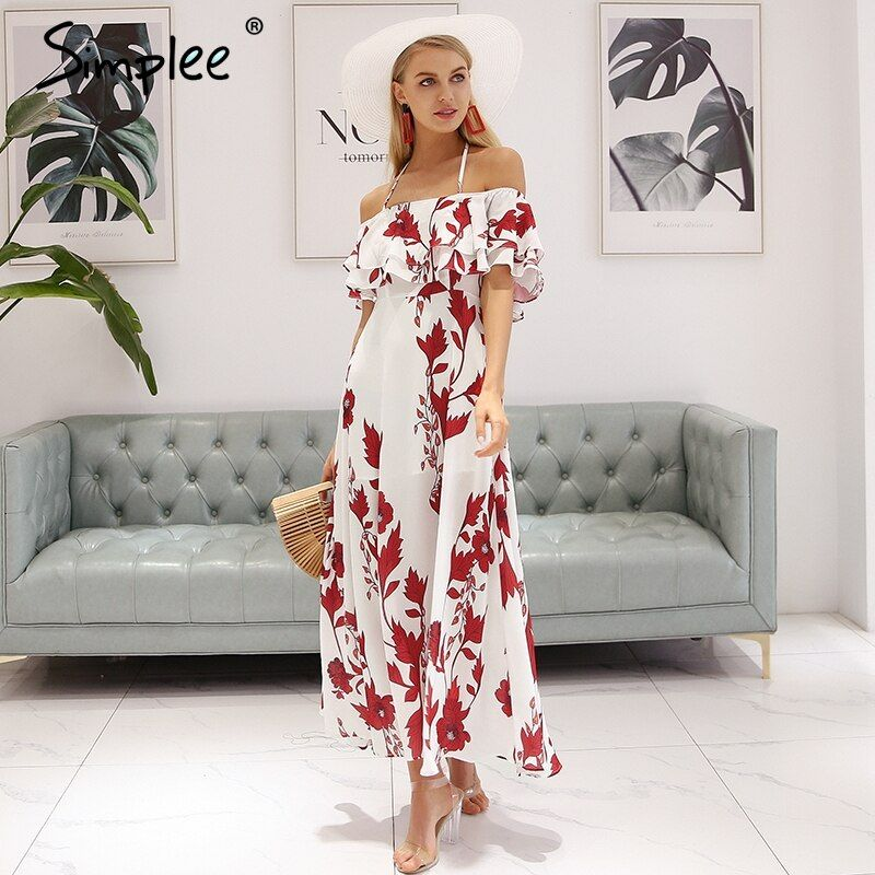 Simplee Sexy off shoulder summer dress women Halter backless floral print long dress 2018 Ruffle bohemian maxi dress vestidos