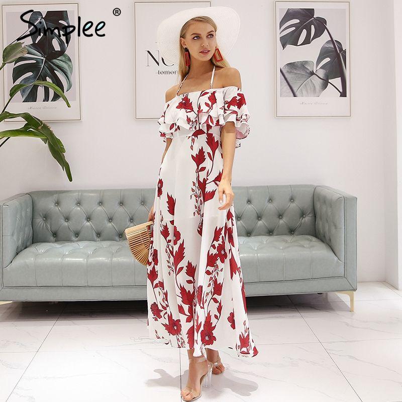 Simplee Sexy off shoulder summer dress women Halter backless floral print long dress 2018 Ruffle bohemian maxi dress vestidos