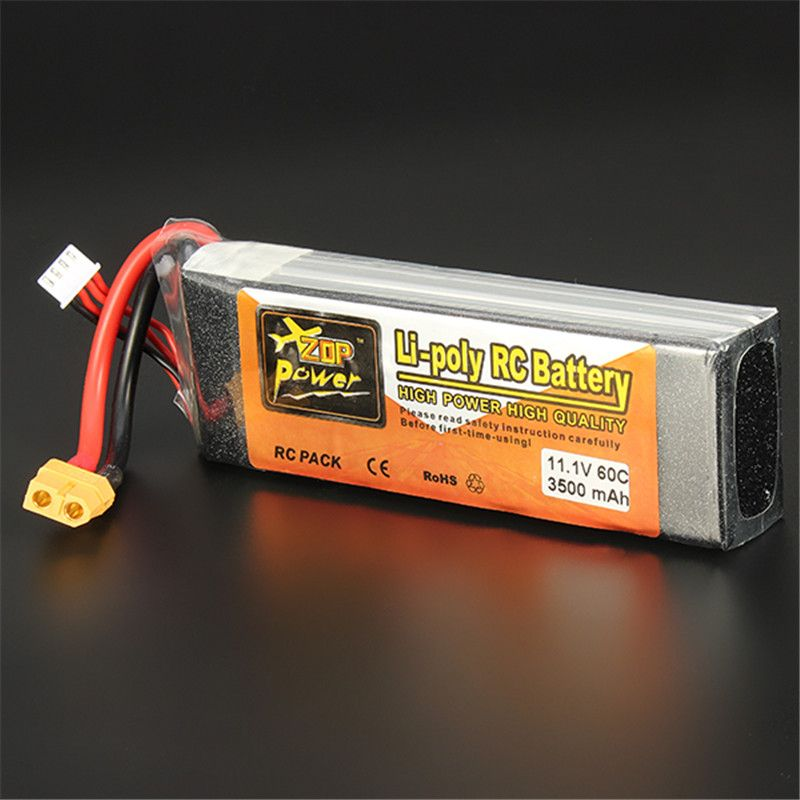 Hot Sale Reachargeable Lipo Battery ZOP Power 11.1V 3500mAh 3S 60C Lipo Battery XT60 Plug RC Toys Models