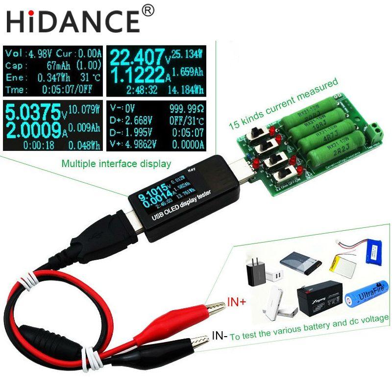 Batterie/USB Testeur DC Voltmètre ampèremètre 18650 capacité compteur Électronique de décharge de charge résistance Alligator clips Crocodile Fil