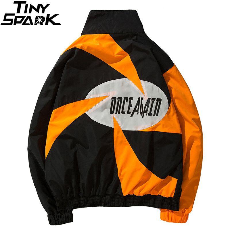 Hip Hop Streetwear Jacket Windbreaker Men Retro Vintage Color Block Windmill Casual Fashion Track Jacket Coat Zip Up Autumn 2018
