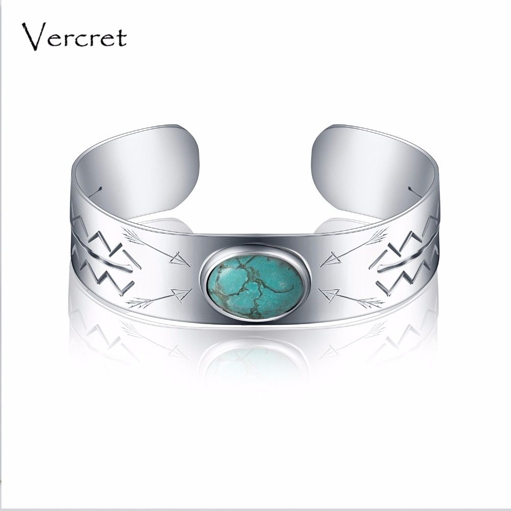 Vercret vintage turquoise bangle handmade 925 sterling silver cuff bracelet fine jewelry for women Valentine's gift