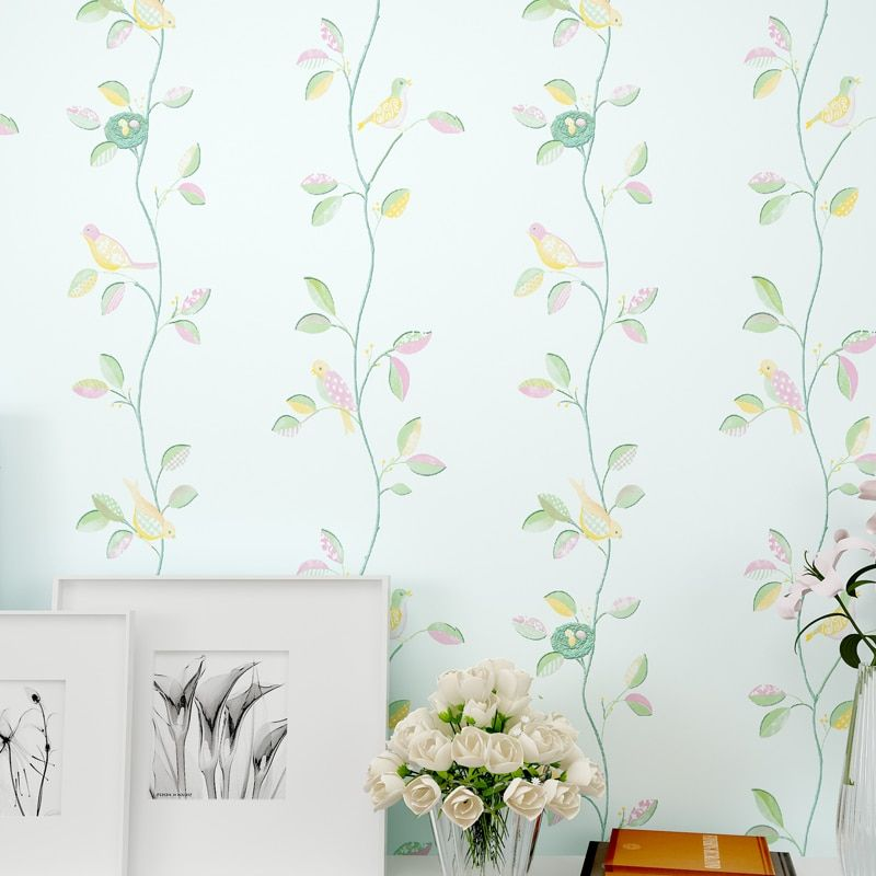 Rustic Romantic Flower 3D Modern Birds Decor Wallpapers Leaf for Walls,TV background Wallpaper Roll Bedroom Wall Paper 3 Colors