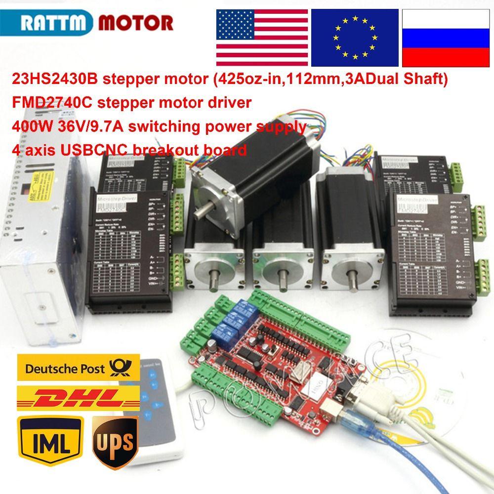 EU/RU free VAT! 4 aixs USBCNC NEMA23 425oz-in,112mm,3A (Dual shaft ) stepper motor CNC kit