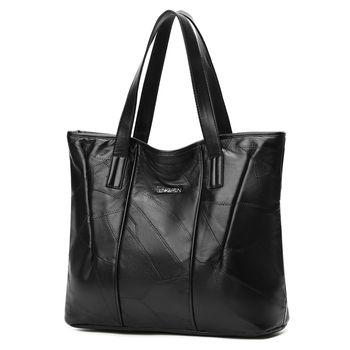 Для женщин сумка из натуральной овчины лоскутное Повседневное Сумки большой Ёмкость женская сумка большая дамы Хозяйственные сумки