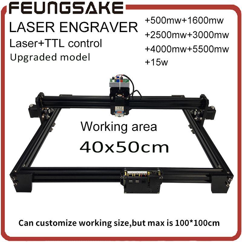 15w laser machine with TTL,5500mw Laser engraver,1600mw 2500mw DIY Mini Laser Engraving Machine, 40*50cm Engraving Area with PMW