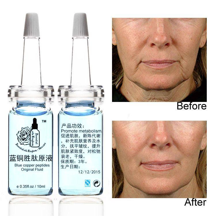 10 ml * 2 pièces Bleu cuivre peptides d'origine fluide vieillissement Anti-rides soleil réparation Rétrécir les pores acné enlever le sang rouge hydratant