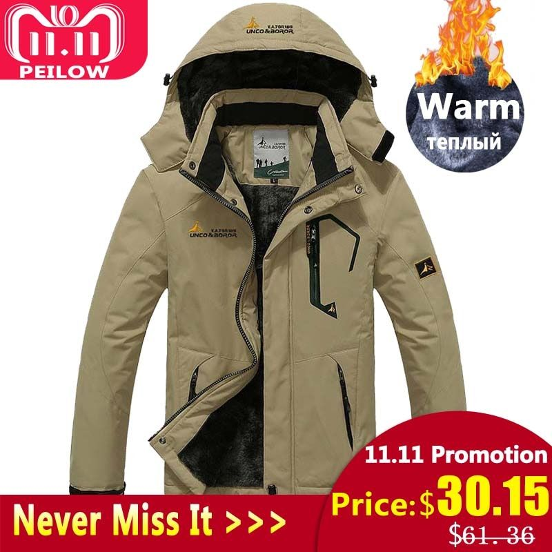 PEILOW Plus size 5XL,6XL outwear winter coat men and women`s thicken waterproof fleece warm cotton parka coat men jacket
