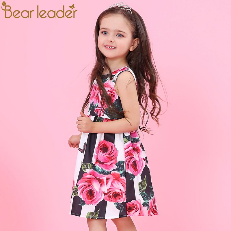 Bear Leader Girls Dresses 2018 New <font><b>Brand</b></font> Princess Clothing Flower Pattern Sleeveless A-Line Baby Girls Dress For 3-8 Years