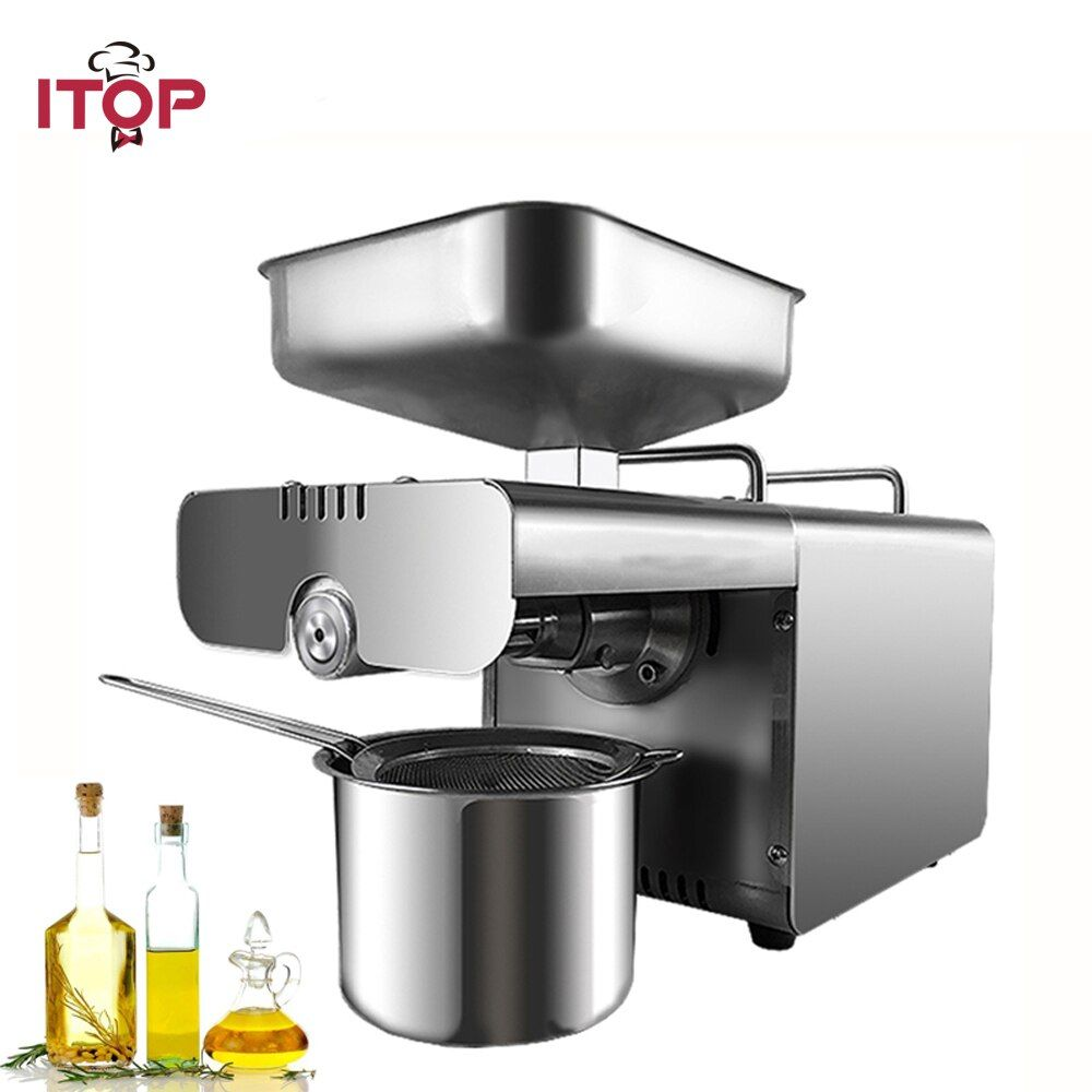 ITOP Commercial Oil Press Machine, Automatic Peanut, cocoa soy bean oil press ,450W oil expeller EU/US Plug