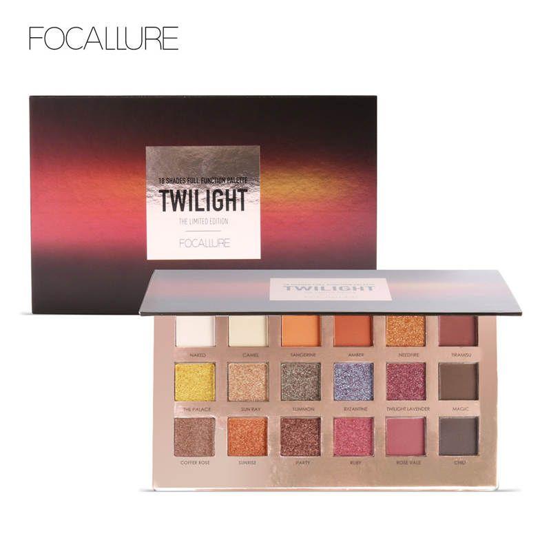 FOCALLURE 18 Colors Glitter Eyeshadow Shimmer Pigment Palette Cosmetics Glitter Eye Shadow Makeup Beauty