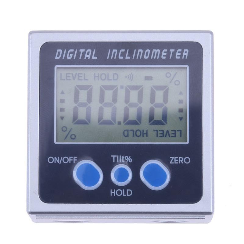 4 x 90 Electron Goniometers Electronic Protractor Digital Inclinometer <font><b>Level</b></font> Box Magnetic <font><b>Level</b></font> Measuring Tool Angle Meter