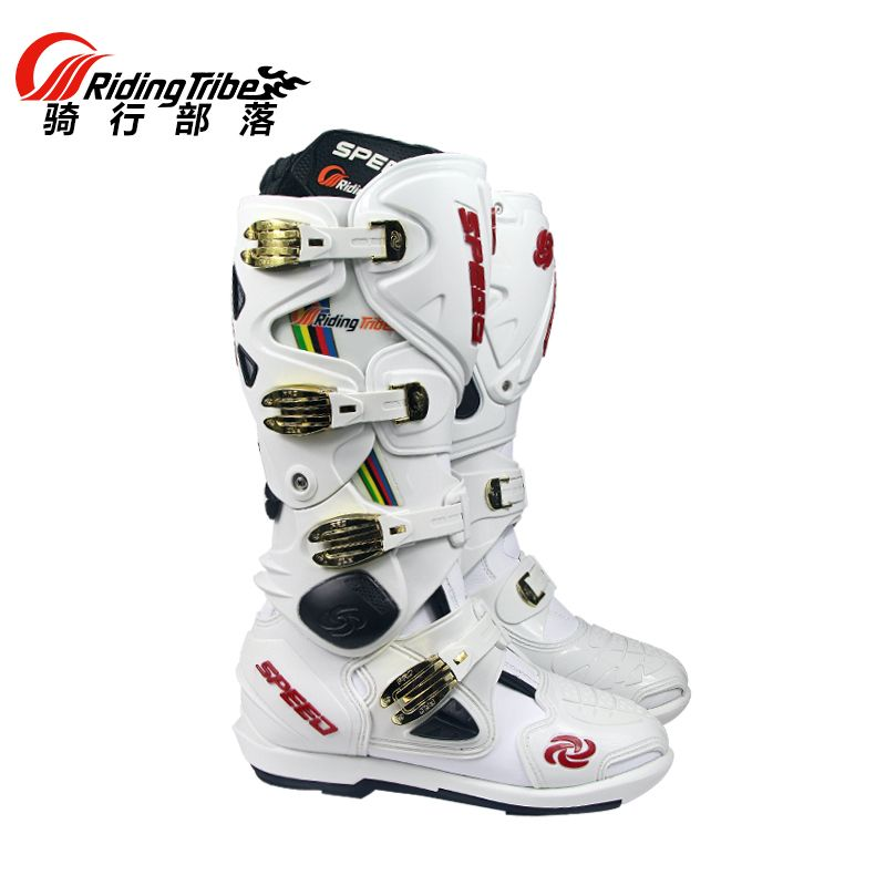 Motorcycle Boots Pro biker SPEED Bikers Motocross Leather Long knee-high Shoes white black moto GP dirty bike SW-STAR CO HONOR