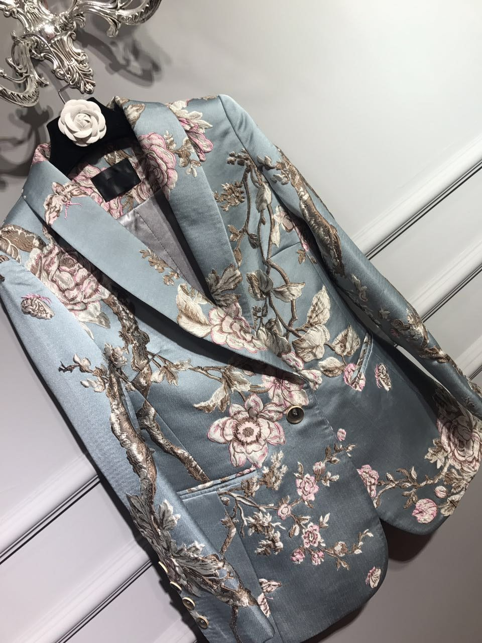 2017SS NEW Luxury Runway Fashion Satin Flowers Jacquard Embroidery Blazer LONG Sleeves Singble Button Side Pockets Elegant Coat