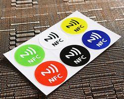 6 шт./лот Водонепроницаемый 6 цветов NFC наклейки смарт-клей Ntag213 метки совместим со всеми телефонами