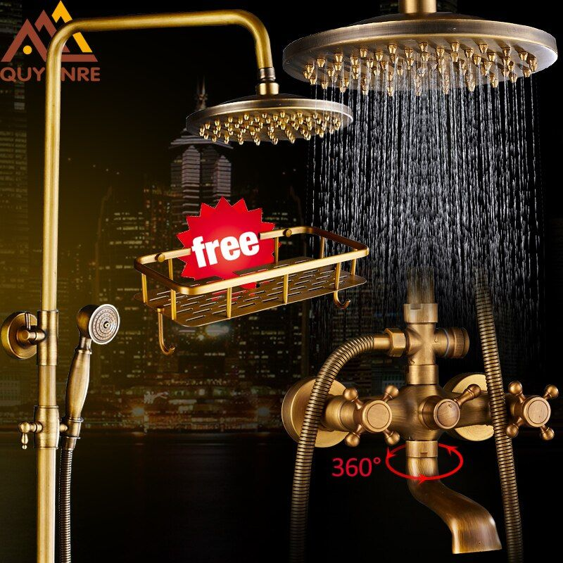 Quyanre Antique Brass Shower Faucets Set 8'' Rainfall Shower Head Commodity Shelf Handle Mixer Tap Swivel Tub Spout Bath Shower