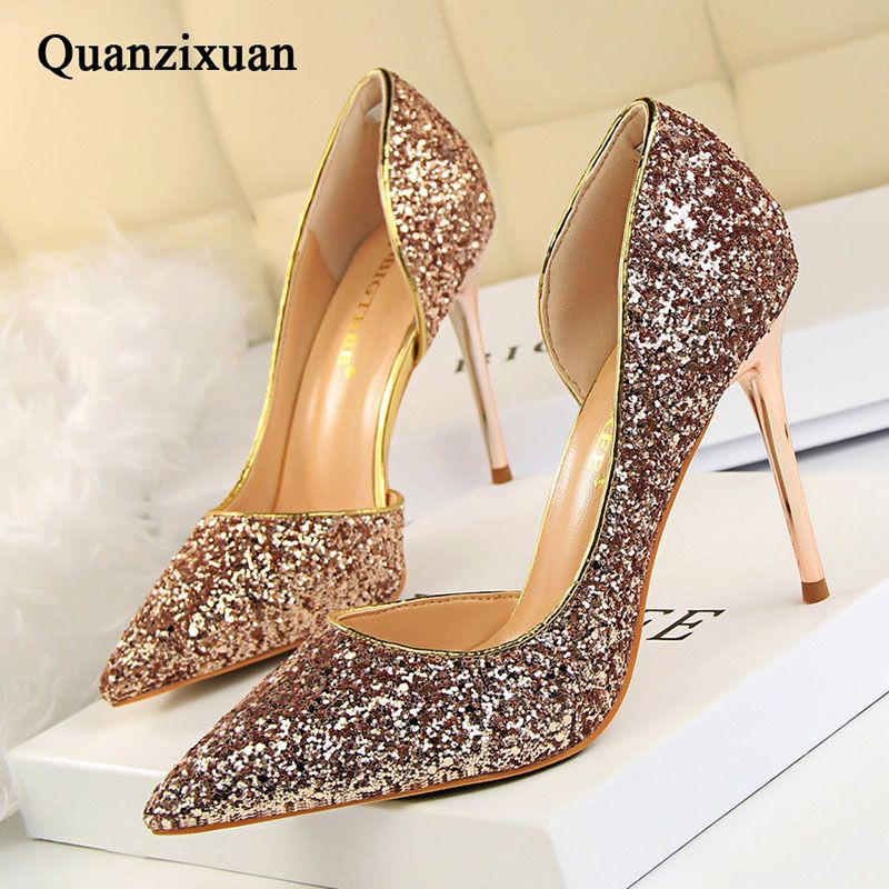 Women Pumps Bling High Heels Women Pumps Glitter High Heel Shoes Woman Sexy Wedding Party Shoes Gold Silver