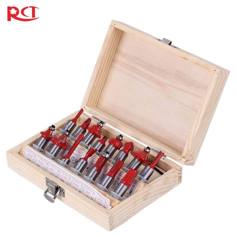 15 pièces 1/4-1/2 pouces Tige routeur de carbure De Tungstène Bits de Puissance Rotatif Outil Accessoires + boîte En Bois