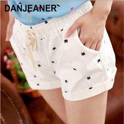 DANJEANER короткие брюки женские летние с высокой талией с принтом головы кота хлопковые шорты в стиле кэжуал модный шнурок байкерские шорты пл...