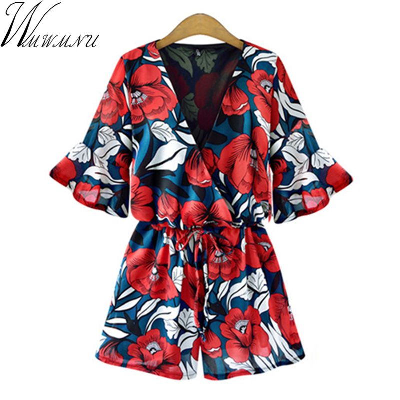 Wmwmnu Shorts Rompers printing flower Women Jumpsuits Summer Sexy Deep V Neck  plus size 5XL Tie Waist Casual Jumpsuit ls191a