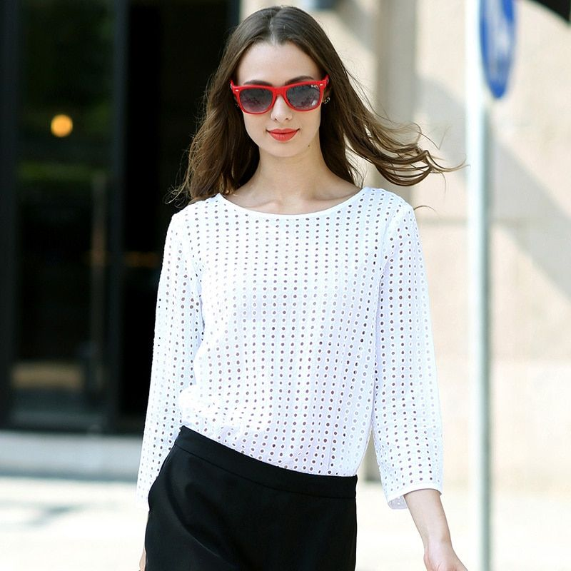 Вери Гуде Женская белая блузка выдалбливают рубашка Slim Fit с длинным рукавом HJC-C8313
