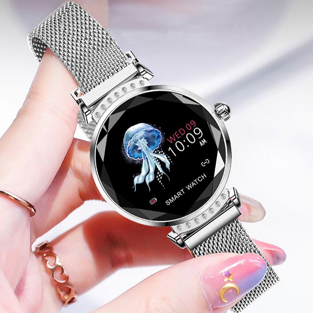 Volemer mode H2 femmes montre intelligente 3D diamant verre fréquence cardiaque pression artérielle moniteur de sommeil meilleur cadeau dames Smartwatch 4 couleurs