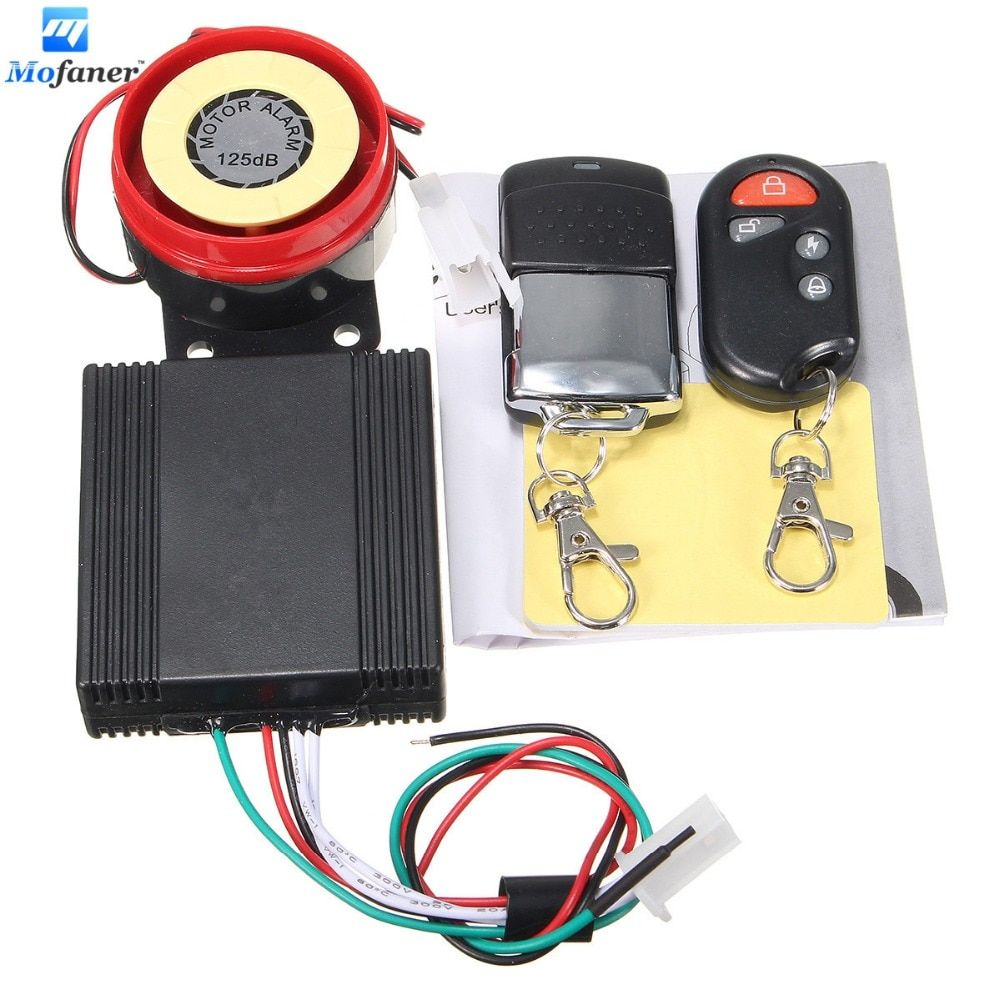 1 Set Motorcycle Alarm Motorbike Bike Scooter Lock Anti-theft Security Alarm 125db 2 Remote DC 12V