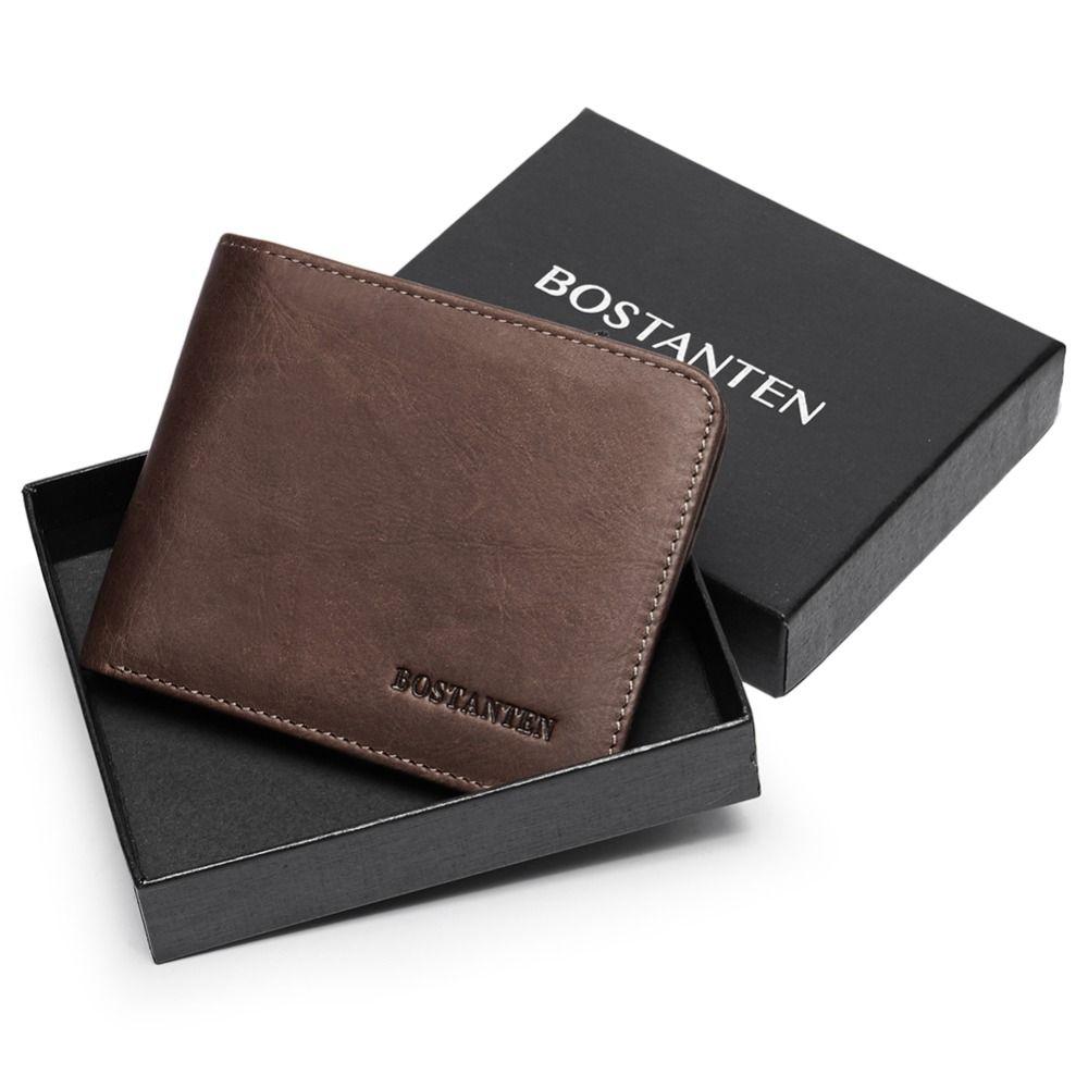 BOSTANTEN hommes ID/porte-carte de crédit à deux volets portefeuille de poche avant avec boîte RFID bloquant les porte-carte d'affaires 100% en cuir véritable