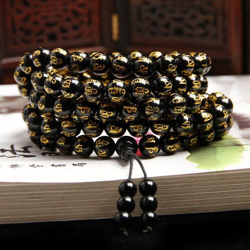 <font><b>Drop</b></font> Shipping 8mm 108 Six Words of Mantra beads Obsidian Bracelets&Bangle Agates Bracelets Jewelry
