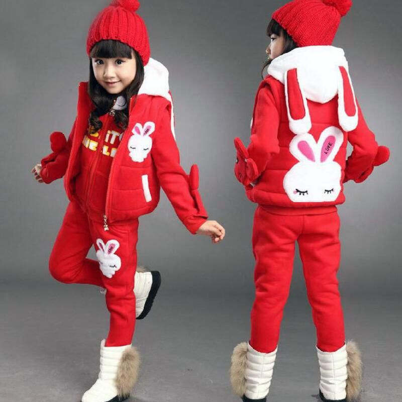 Anlencool 2018 Girls sweater three-piece Korean version of new childrens clothing children's winter suit Dongkuan small rabbit