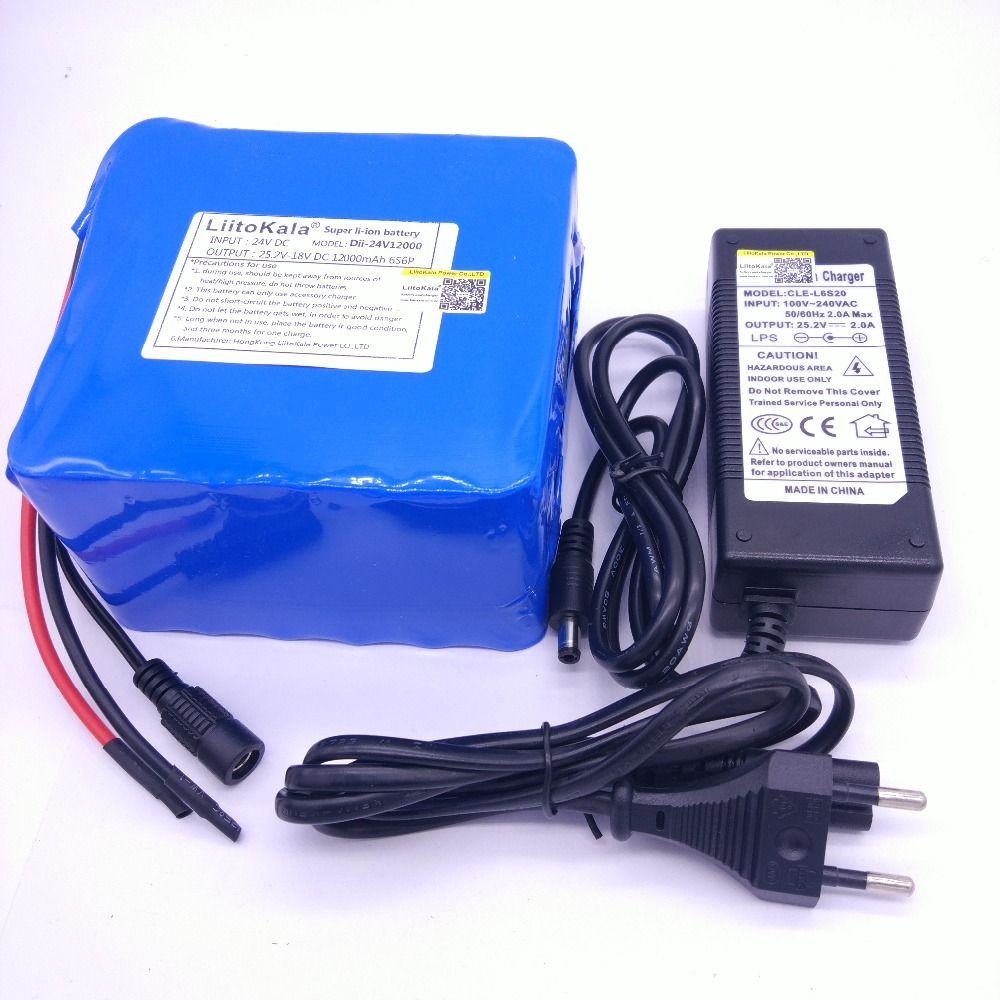 HK LiitoKala 24v 12ah 6S6P lithium battery pack 25.2V 12ah battery li-ion for bicycle battery pack 350w e bike 250w motor wit