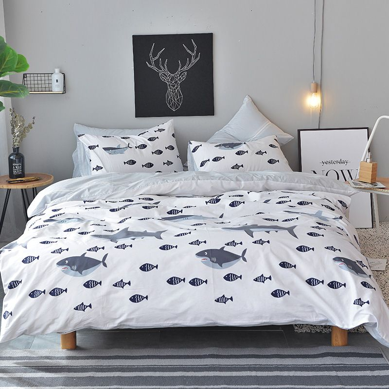 Lai Yin Sun Include Duvet cover Pillow cases BedSheet Shark fish Bedding Sets Simple 100% Cotton twin queen king size