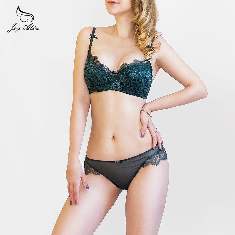 2018 New Arrival Girls Underwear Set Push-up <font><b>Thin</b></font> Cotton Half Cup Lace Bra And Panty Set Women Lingerie Big Size Bra set