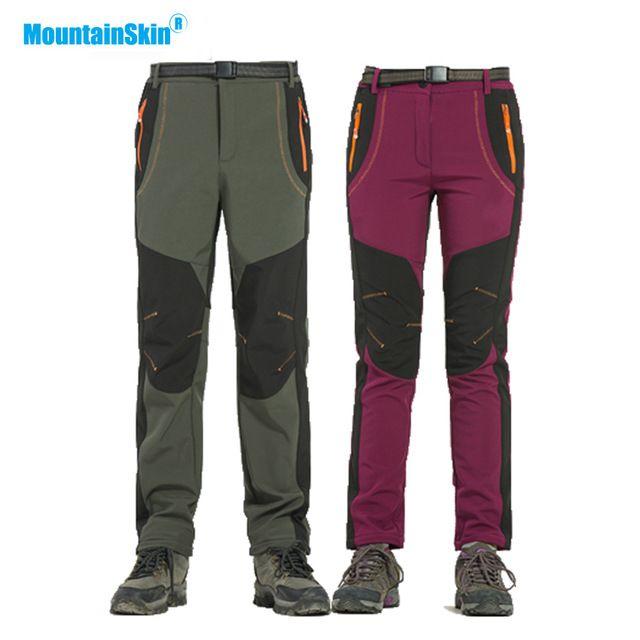 Mountainskin Hiver homme femme pantalons de randonnée En Plein Air pantalon softshell Coupe-Vent Imperméable Pour Le Camping Ski Escalade MA218