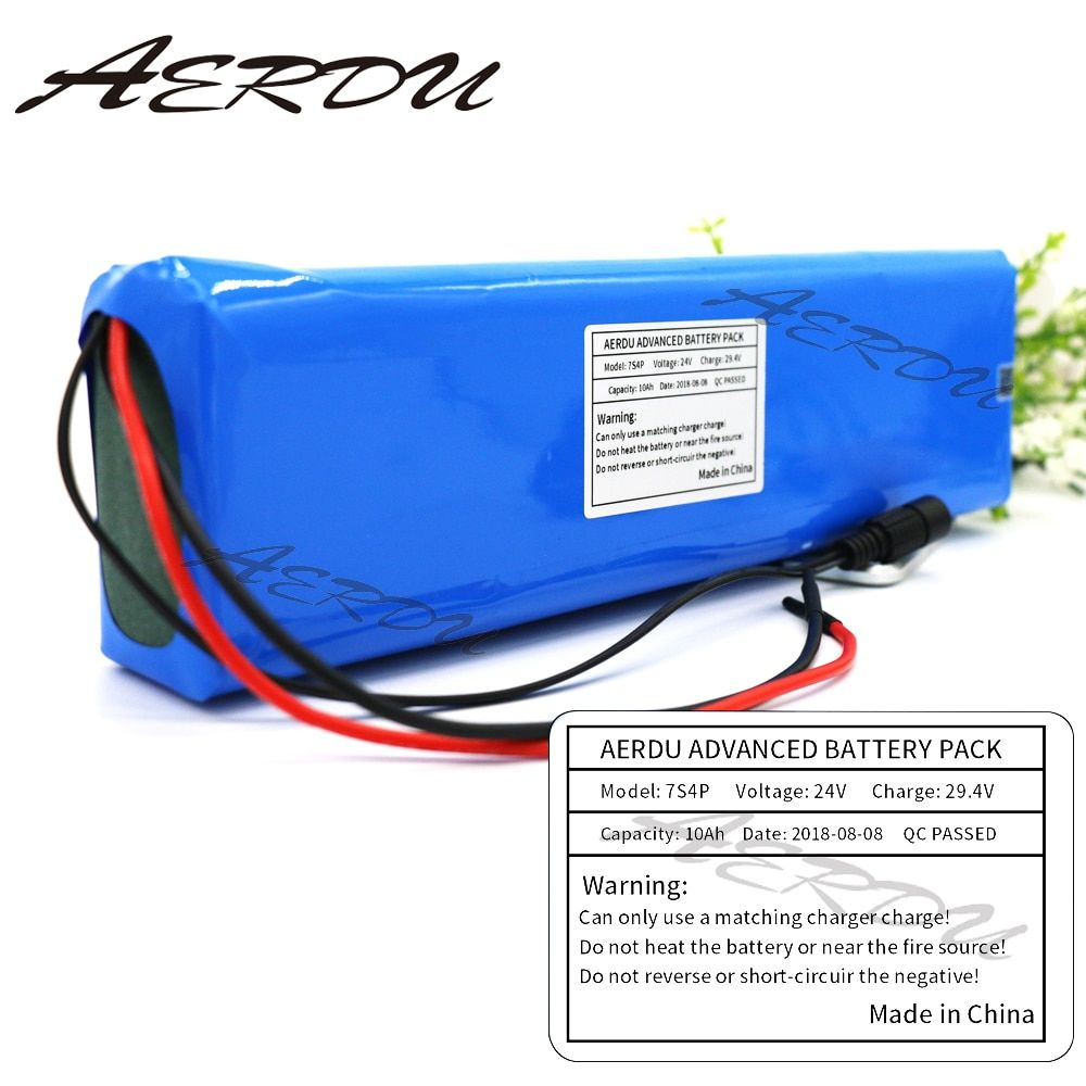 AERDU 7S4P 24V 10Ah 29.4V Li-ion Battery Pack with 15A BMS For Electric moped ebike Scooters light bicycle power wheelchair