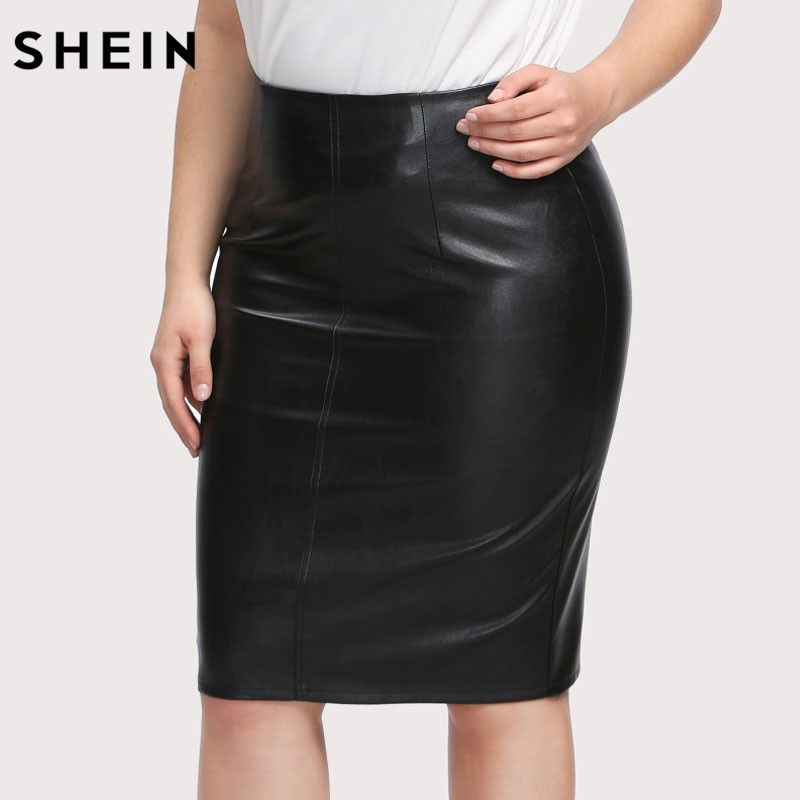 SHEIN Black Women Skirt Plus Size Clothes Ladies Work Skirts Spring Summer Large Size Faux Leather Pencil Elegant Skirt