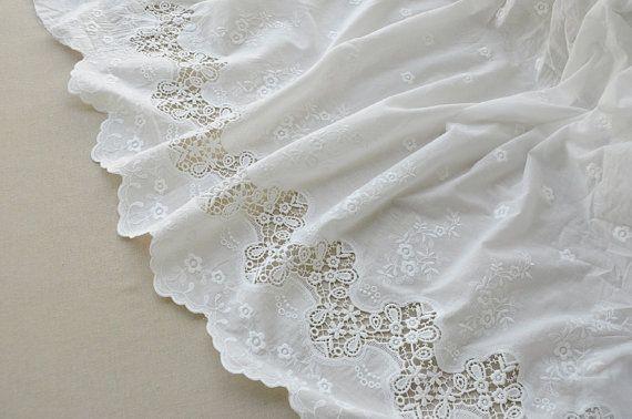 Blanc cassé coton dentelle tissu, coton brodé tissu de dentelle, tissu de dentelle de mariée, mariage nappe coureurs chaude selling1 yrd