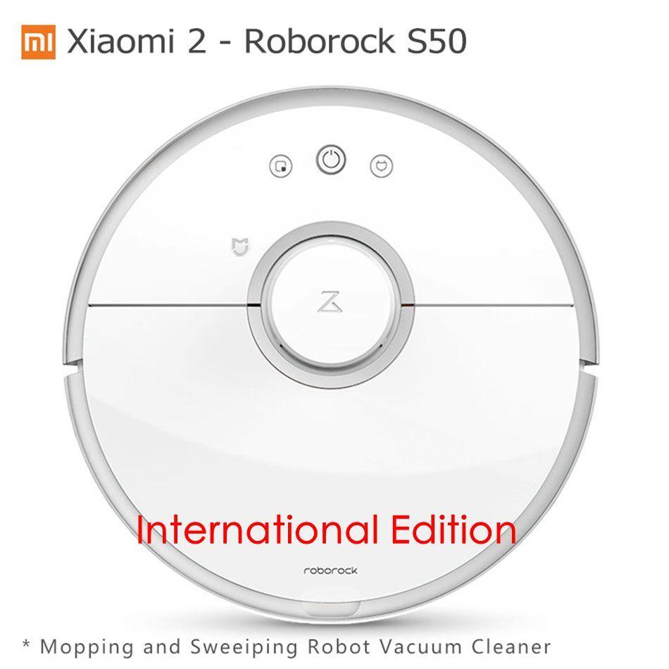 Xiao mi mi 2 Roborock S50 Robot Aspirateur Humide Essuyant Robot de Balayage D'origine Xiao mi Version mi jia App wifi Télécommande
