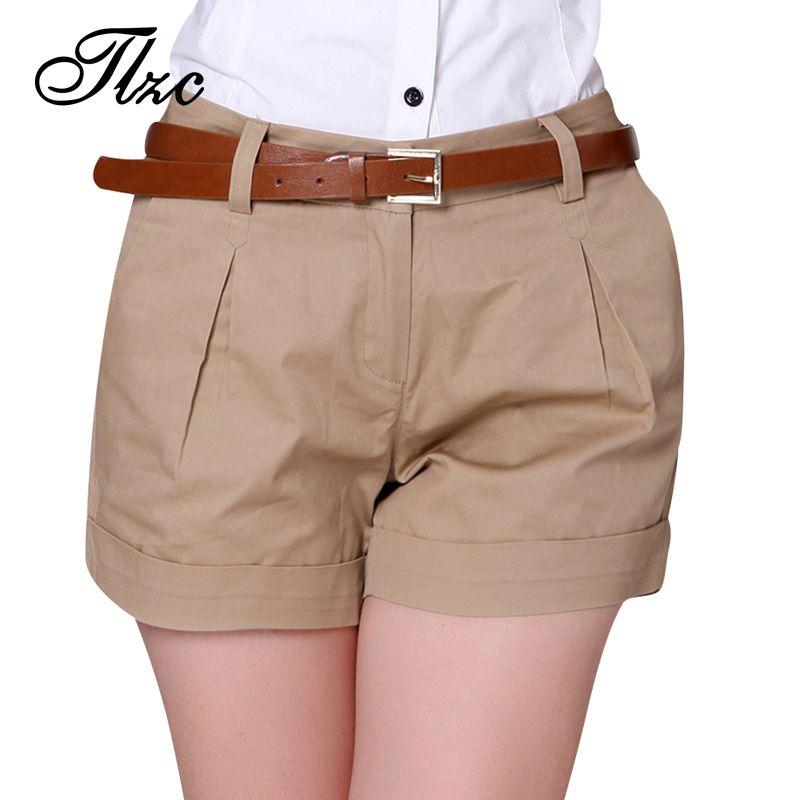 2017 Korea Summer Woman Cotton Shorts Size S-3XL New Fashion Design Lady Casual Short Trousers Solid Color Khaki / White
