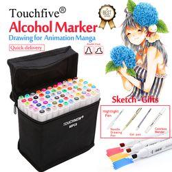 Touchfive Spidol 30/40/60/80/168 Warna Seni Spidol Set Berbasis Alkohol Sketsa Sikat Marker pena Untuk Artis Menggambar Manga Animasi